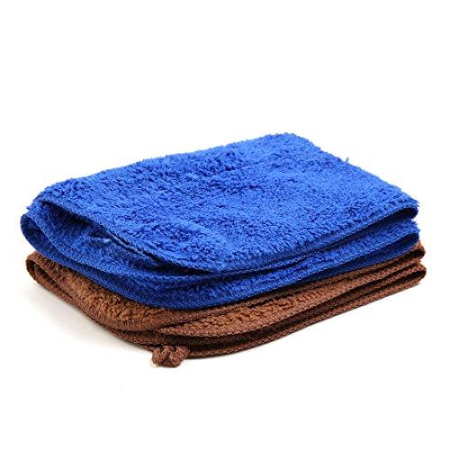 sourcingmap 2 Stk blau braun Mikrofaser Auto Polieren Reinigung Waschen Handtuch 40cm x 30m