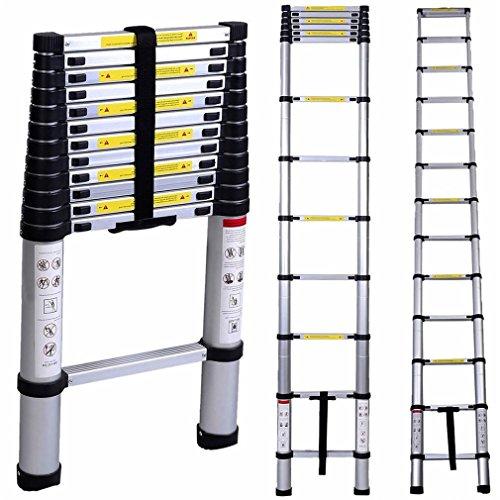 Blackpoolal 4.4M 14.5ft Teleskopleiter Alu Leiter Ausziehbar Haushaltsleiter Aluminium Klappleiter Ausziehleiter Mehrzweckleiter bis 150 kg