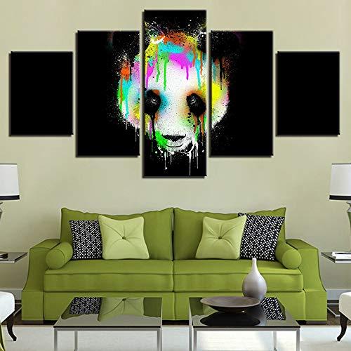 Foto Stampa HD Decorazioni da Parete Abstract Canvas 5 Pezzi Modulari Colorate Panda Head Immagini per Soggiorno d Poster s