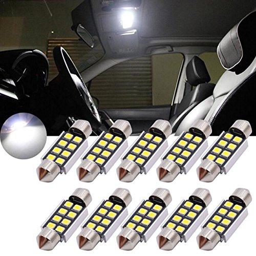 Tuincyn 36 mm chipset alluminio Canbus LED senza errori Lampadina a luce bianca pura 2835 - 8SMD E39 E36 E46 E90 E60 E30 E53 E70 porte per interni auto mappa luci a cupola LED (confezione da 10)