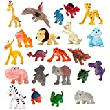 SUPER TOY Jungle Mini Cartoon Animal Toys Figure Playing Set for Kids (Pack of 22)