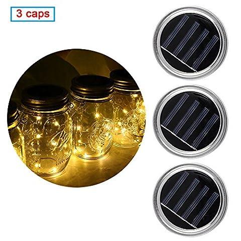 Mason Solar Jar Lid, 3 pcs Solar Mason Lid Insert