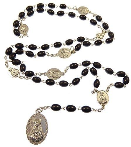 Rosario con perline di vetro nere ovali e medaglione sette sospiri di (Immagine Gruppo)