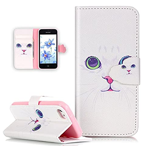 iPhone SE Case,iPhone 5S Case,iPhone 5 Case,ikasus Beautiful Art Painted Pattern Flip PU Leather Fold Wallet Pouch Case Premium Leather Wallet Flip Case with Stand Credit Card ID Holders Case Cover for Apple iPhone SE 2016 & iPhone 5S 5,White Cat