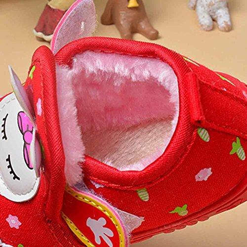 Ouneed® Krabbelschuhe , Baby Mädchen Kaninchen Baumwollschuh Turnschuh rutschfeste weiche Sole Kleinkind Rot