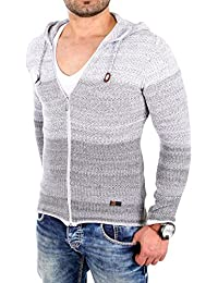 Reslad Strickjacke Herren Color-block Kapuzen-Pullover Cardigan Jacke RS-3107