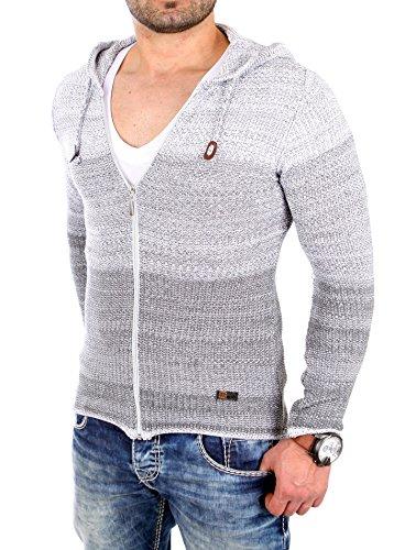 Reslad Strickjacke Herren Colorblock Kapuzen Cardigan Jacke RS-3107 Grau L
