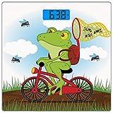 Digitale Präzisionswaage für das Körpergewicht Platz Tier Dekor Ultra dünne ausgeglichenes Glas-Badezimmerwaage-genaue Gewichts-Maße,Lustiger Frosch auf einem Fahrrad, welches die Jagd fängt, fliegt i