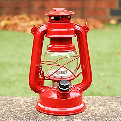 LED Hurricane Lamp, Red Storm Lantern for Decor, Camping, Garden - 12 LED Battery Operated Table Lamp by PK Green by PK Green