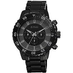 August Steiner Herren AS8101BK Swiss Quartz Multifunction Black Bracelet Armbanduhr