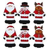 LAEMILIA 3/6 Stk. Weihnachten Tischdeko Christmas Motiv Besteck Messer Gabel Löffel Besteckbeutel Weihnachtsmann Elch Schneemann Weihnachtsdeko Tisch Dekoration