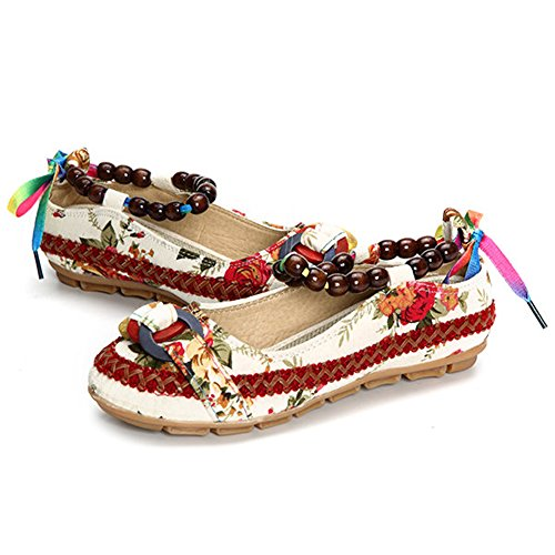 Minetom Femme Coloré Broderie Fleur Round Toe Plat Chaussures Casual Perlé Loafers Ballerines Mocassins Pumps Mary Jane Blanc