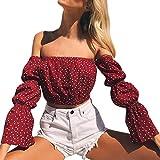 SHOBDW Mode Frauen Schulterfrei Chiffon Polka Dot Langarm Low Cut Sexy Bluse Pullover Tops Shirt (M, Rot)