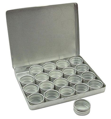 """20-Pieces claro superior redondo de aluminio de almacenamiento de contenedores de 1,2 """"de diámetro Mini DIY Favor Cajas"""