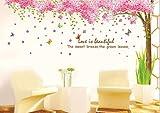 Rainbow Fox Grand Rosa Sakura Kirschblüte Baum Wandtattoo Sticker PVC abnehmbar Wall Decal für die Mädchen und Jungen-Baumschule XY1096