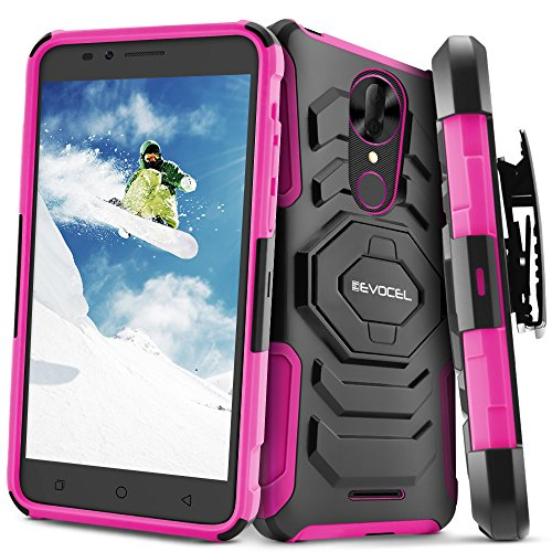 T-Mobile revvl Plus Fall, evocel [New Generation] Rugged Holster Dual Layer Case [Ständer] [drehbarem Gürtelclip] für T-Mobile revvl Plus, Rose (T-mobile Celular)