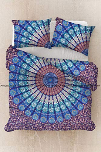 Sophia Art Pinsel Glowing Sun Face Mandala Bettbezug-Sets mit Kissen Abdeckungen von Wende, Indian Bettbezug Quilt Decke Bohemian Doona Cover handgefertigt 203,2x 208,3cm (Multi)