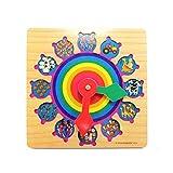 Vaycally Uhr-Spielzeug aus Holz, Zum Lernen der Uhr Puzzle-Uhr Lernspielzeug mit Zahlen und Blöcken Zum Sortieren