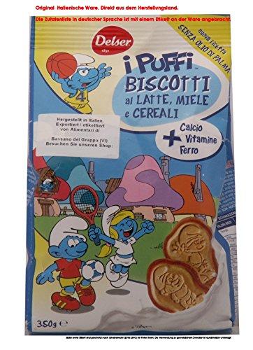 """Delser Biscotti con latte fresco i puffi 6 x 350g = 2100g / Die Schlümpfe Delser Keks mit frischer Milch """"Die Schlümpfe """""""