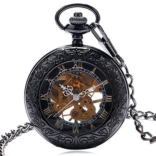 XY&DQ Taschenuhr RetroFrame Case mit Glasgehäuse-Design Schwarz Römische Zahl Skelett Mechanische Taschenuhr Für Männer Damen Taschen- und Taschenuhren von Watches, Black