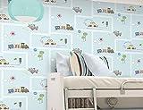 CczxfccLos Niños Azul Cartoon Wallpaper Dormitorio Niños Niñas Tienda De Ropa Para Niños Alquiler De Coches Modernos.