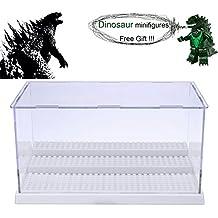 MIMIEYES Estuche de Muestra Caja de Presentación para LEGO Minifigures Claro Escaparate A Prueba de Polvo 3 Pasos (Blanco)