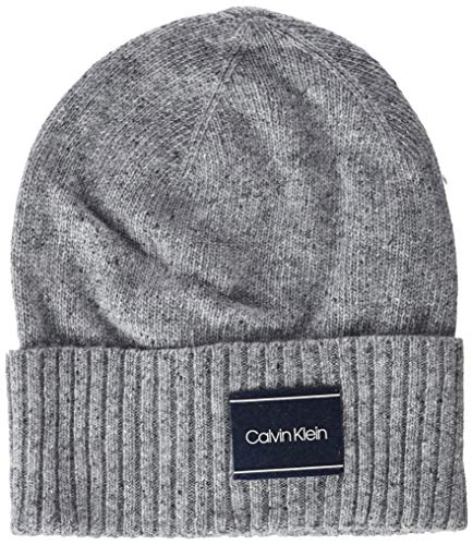 Calvin Klein Herren NEPS Beanie Strickmütze, Grau (Mid Grey Heather B38-Vol39 013), One Size