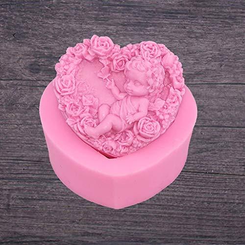 ZUIMEI Herzförmige Rose Engel Baby Muster Silikagel Zucker Formen DIY Schokolade Kuchen Deko Backwerkzeug Ätherisches Öl Handgemachte Seife Form -
