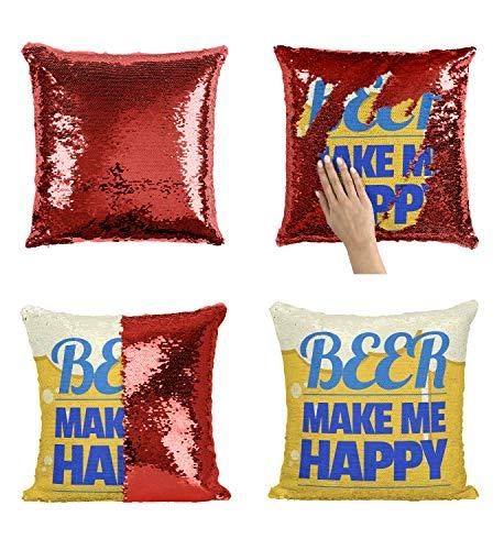 rink_005952 Sequin Pillow, Funny Pillow, Sequin Reversible Pillow, Kissenbezug Kissen, Décor, Gift for Him Her, Birthday Christmas Halloween, Present (nur Kissenbezug) ()