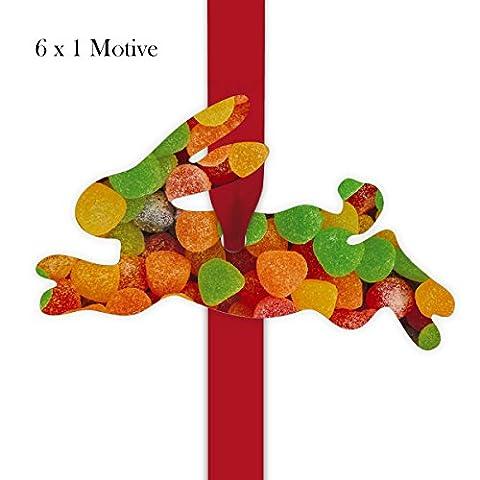 6 leckere Geschenkanhänger | Deko Geschenkkärtchen | Girlanden Anhänger mit Süßigkeiten Foto - in Hasen Form 11,5 x 7cm