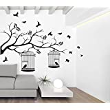 [Sponsored Products]Wallstick ' Tree With Birds And Cages ' Wall Sticker (Vinyl, 115 Cm X 155 Cm, Black)