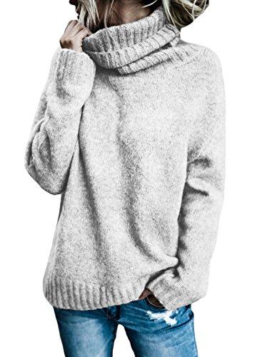 FIYOTE Damen Rollkragen Pullover Sweater Tops Langarm Outwear Strickpullover Casual Warm Winter Und Herbst (Rollkragen-pullover)