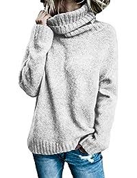 Aleumdr Mujer Suéter de Cuello Alto Jersey de Punto de Invierno Jerséis Casual para Mujer Size S-XL