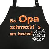 Grillkönig Bei OPA schmeckt`s Garantiert! - Kochschürze, Latzschürze mit verstellbarem Nackenband und Seitentasche - Die Geschenkidee! … (Schwarz)
