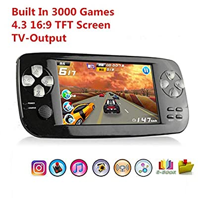 """YLM Handheld Game Console , Retro Game console with 4.3"""" 3000 Games, Portable Game Console PAP-KIII , Support GBA / GBC / GB / SEGA / NES / SFC / NEOGEO for Children"""