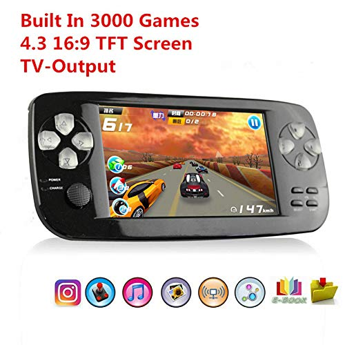 YLM Handheld Spielkonsole,Portable Spielkonsole mit 3000 Spielen und TV-Ausgang, Kamera, SD-Musik (Schwarz)