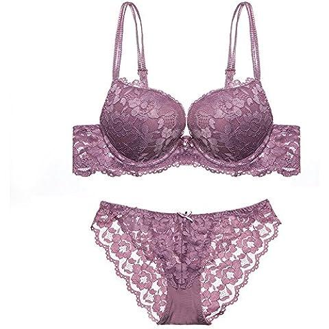 ZPSZPS-bra el máximo confort. Calidad Premium doble de material grueso spagH etti correas lingerie lace bra set , Morado , 85c