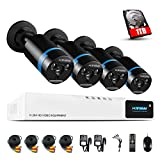 H.View 4CH Home Security 1080P CCTV Camera Systems with Hard Drive (1TB) HD Security Camera System Including 4x1080P CCTV Cameras and 4 Channel DVR CCTV Kits 2.0MP Security Cameras Night Vision to 30M