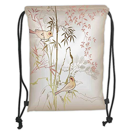 LULUZXOA Gym Bag Printed Drawstring Sack Backpacks Bags,Vintage Bamboo Decor,Nature Bamboo Leaf and Bird Design Illustration Floral Animal Print, Soft Satin,The Stylis