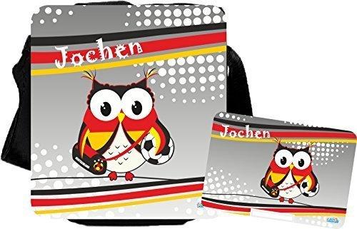 Schultertasche mit Weltmeistereule Brotdose Umhängetasche Schultertasche (Tasche mit Brotdose) Tasche mit Brotdose