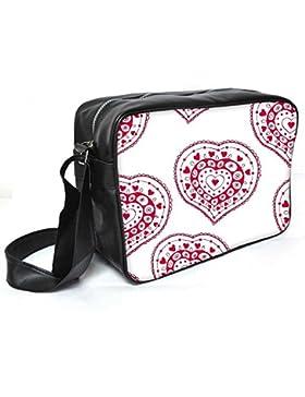 Snoogg rot Herz weiß Muster, Leder Unisex Messenger Bag für College Schule täglichen Gebrauch Tasche Material PU