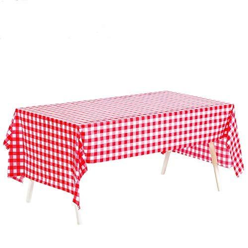 BREEZO Tischdecke 4 Stücke Tischtuch Leinentischdecke 137x274 cm Tischwäsche Pflegeleicht Fleckschutz schmutzabweisend Eckig Rot und Weiß kariert