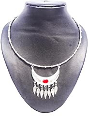 Pentacrafts German Silver Leaf Pendent Women Girl Threaded Necklace, Color: Silver