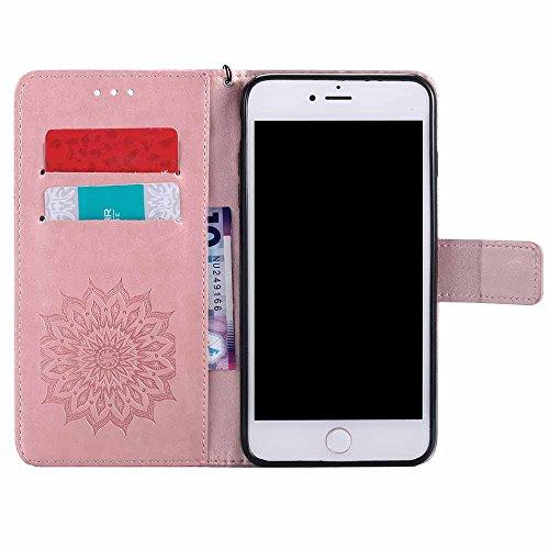 Custodia iPhone 7 Plus, Dfly Premium PU Goffratura Mandala Design Pelle Chiusura Magnetica Protettiva Portafoglio Custodia Super Sottile Flip Cover per iPhone 7 Plus 2016, Rosso Rosa Oro