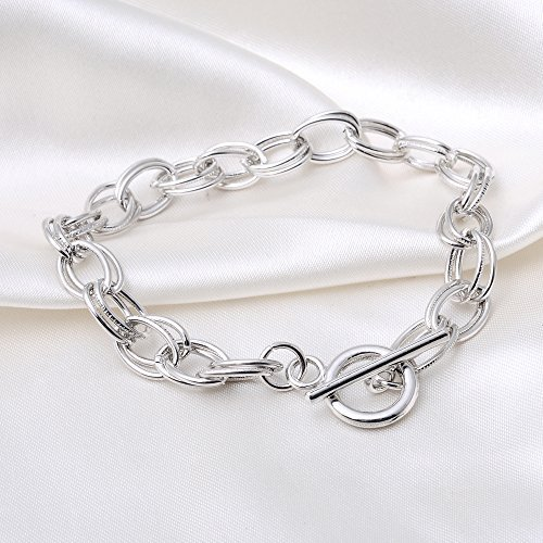 RUBYCA 10Pcs Toggle Clasp Silver Color Charm Rolo Bracelet Double Oval Link Chain 18cm DIY Jewelry by RUBYCA