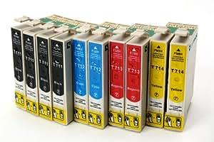 10 x kompatible XL Tintenpatronen mit Chip, kompatibel zu Epson,(4x schwarz T0711, 2x cyan T0712, 2x magenta T0713, 2x gelb T0714)