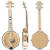 Kmise Banjo Ukulele 4 Saiten Konzert Banjos Ahornholz Aquila Saiten mit Cool Spinne Muster