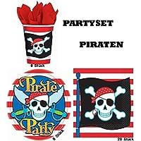 Piraten Partyset für 8 Kinder 32tlg. Becher Teller Servietten