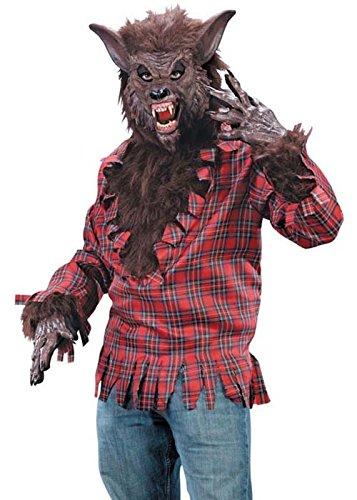 Erwachsene Halloween Herren braun Werwolf-Kostüm (Werwolf Kostüm Herren)