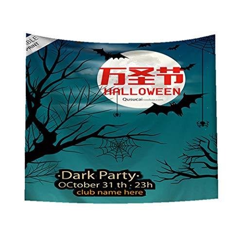TianranRT Sugar Skull Tapisserie Halloween Trick behandeln Horror Ghost Wandbehang Tuch Gobelin Tapisserie Stickerei Strandtuch Kilim Kelim Home Decor (D)